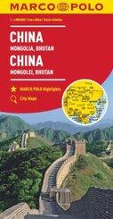 MARCO POLO Kontinentalkarte China, Mongolei, Bhutan 1:4 000 000