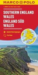 MARCO POLO Karte Großbritannien England Süd, Wales 1:300 000; Angleterre du Sud, Pays de Galles / Southern England, Wale