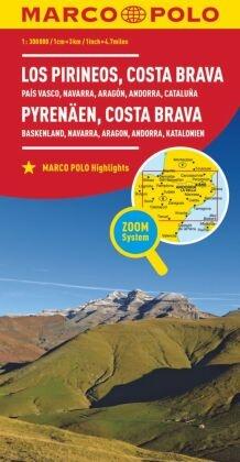 MARCO POLO Karte Spanien Pyrenäen, Costa Brava 1:300 000