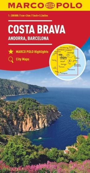 MARCO POLO Karte Costa Brava, Andorra, Perpignan, Barcelona 1:200 000