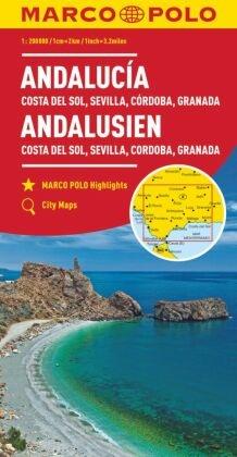 MARCO POLO Karte Andalusien, Costa del Sol, Sevilla, Cordoba, Granada 1:200 000; Andalousie - Costa del Sol, Séville, Co