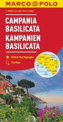 MARCO POLO Karte Kampanien, Basilicata 1:200 000; Campania, Basilicata; Campanie, Basilicate