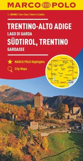 MARCO POLO Karte Südtirol, Trentino, Gardasee 1:200 000; Trentin, Haut-Adige, Lac de Garda / Trentino, Alto Adige, Lago