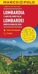 MARCO POLO Karte Lombardei, Oberitalienische Seen 1:200 000; Lombardia I Laghi Del Nord Italia; Lombardy North Italian L
