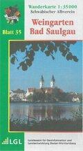 Topographische Wanderkarte Baden-Württemberg Weingarten - Bad Saulgau