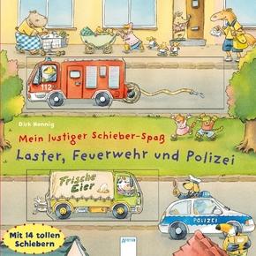 Mein lustiger Schieber-Spaß. Laster, Feuerwehr und Polizei