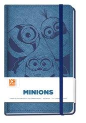Notizbuch: Minions (liniert mit Lesebändchen, Gummiband und Faltinnentasche)