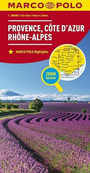 MARCO POLO Karte Frankreich Provence, Côte d'Azur, Rhône-Alpes 1:300 000