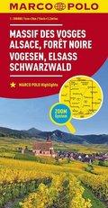 MARCO POLO Karte Frankreich Vogesen, Elsass, Schwarzwald 1:200 000; Vosges Mountains, Alsace, Black Forest; Massif des V
