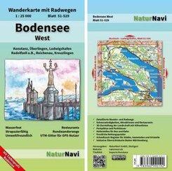 NaturNavi Wanderkarte mit Radwegen Bodensee West