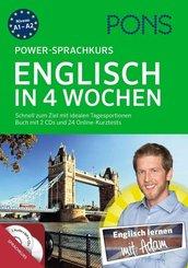 PONS Power-Sprachkurs Englisch in 4 Wochen, Buch mit 2 Audio-MP3-CDs und Online-Kurztests