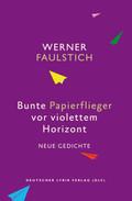 Bunte Papierflieger vor violettem Horizont