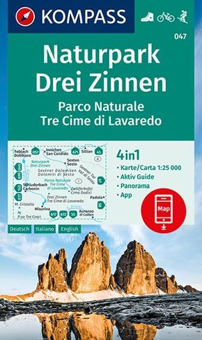 Kompass Karte Naturpark Drei Zinnen; Parco Naturale Tre Cime di Lavaredo