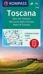 KOMPASS Wanderkarte Toscana, Herz der Toskana, Nel cuore della Toscana, Heart of Tuscany