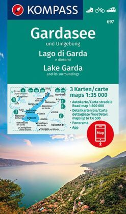 Kompass Karte Gardasee und Umgebung, 3 Bl.; Lago di Garda e dintorni, 3 Bl.; Lake Garda and its surroundings, 3 Bl.