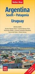 Nelles Map Landkarte Argentina: South, Patagonia, Uruguay