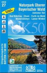 Topographische Karte Bayern Naturpark Oberer Bayerischer Wald, östlicher Teil