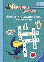 Leserabe, Rätselspaß - Sticker-Kreuzworträtsel zum Lesenlernen (2. Lesestufe), türkis