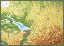 Relief Allgäu Bodensee 1:200.000, Reliefkarte, mit Holzrahmen