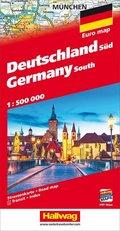Hallwag Straßenkarte Deutschland Süd / Germany South