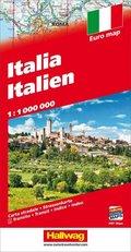 Hallwag Straßenkarte Italien / Italia