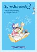 """Sprachfreunde, Ausgabe Nord/Süd (2015): 3. Schuljahr, 5-Minuten-Training """"Richtig schreiben"""""""