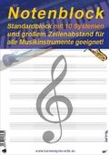 Notenblock: Standardblock mit 10 Systemen und großem Zeilenabstand für alle Musikinstrumente geeignet