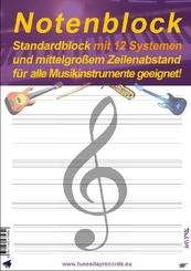 Notenblock - Standardblock mit 12 Systemen und mittelgroßem Zeilenabstand für alle Musikinstrumente geeignet