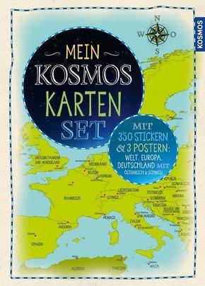 Mein KOSMOS Karten Set (3 Poster + 270 Sticker: Welt, Europa, Deutschland)