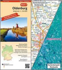 Topographische Karte und Satellitenbildkarte Oldenburg