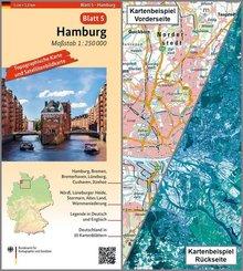 Topographische Karte und Satellitenbildkarte Hamburg