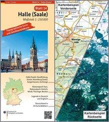 Topographische Karte und Satellitenbildkarte Halle (Saale)