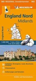 Michelin Karte England Nord, Midlands