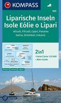 KOMPASS Wanderkarte Liparische Inseln, Isole Eólie o Lìpari, Alicudi, Filicudi, Lìpari, Panarea, Salina, Strómboli, Vulc