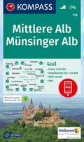 KOMPASS Wanderkarte Mittlere Alb, Münsinger Alb