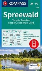 KOMPASS Wanderkarte Spreewald, Teupitz, Beeskow, Lübben, Lübbenau, Burg