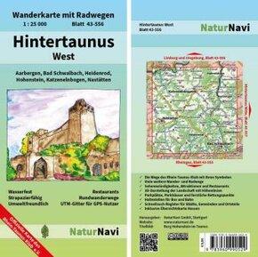 NaturNavi Wanderkarte mit Radwegen Hintertaunus West