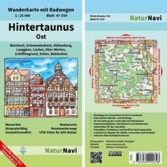 NaturNavi Wanderkarte mit Radwegen Hintertaunus Ost