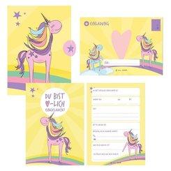 12 Einladungskarten Geburtstag Einhorn (Mädchen)