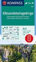 Kompass Karte Elbsandsteingebirge, Nationalpark Sächsische Schweiz, Nationalpark Böhmische Schweiz