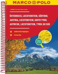 MARCO POLO ReiseAtlas Österreich 1:200 000 mit Liechtenstein, Südtirol