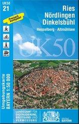 Topographische Karte Bayern Ries, Nördlingen, Dinkelsbühl