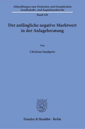 Der anfängliche negative Marktwert in der Anlageberatung.
