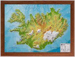 Island, Reliefkarte, Klein 1:500.000, m. Holzrahmen