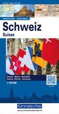 Kümmerly & Frey Politische Karte Schweiz; Suisse / Svizzera / Svizra