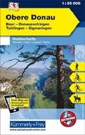 Kümmerly & Frey Outdoorkarte Obere Donau, Baar, Donaueschingen, Tuttlingen, Sigmaringen