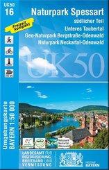 Topographische Karte Bayern Naturpark Spessart südlicher Teil; 1