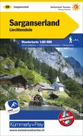 Sarganserland, Liechtenstein Wanderkarte MATT LAMINIERT Nr. 30