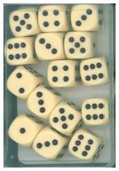 15 Würfel 16 mm elfenbein (Spiel-Zubehör)