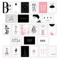 Schönes Postkarten Set mit 25 modernen und stylishen Postkarten zum Dekorieren oder Verschenken. Feminine Bilder, Sprüch